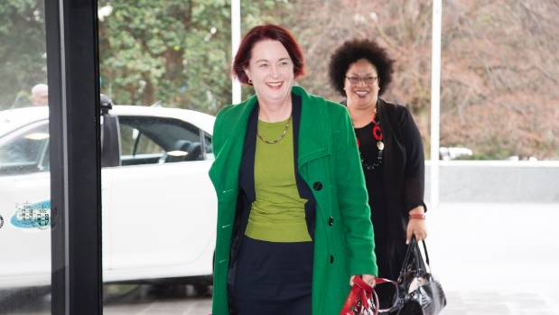 New MPs Deborah Russell, front, and Anahila Kanongata'a-Suisuiki arrive at Parliament.