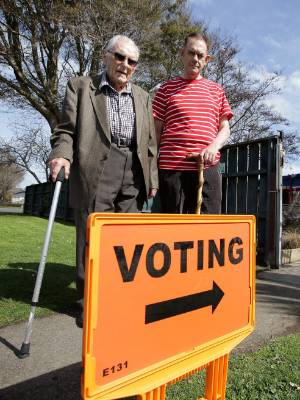 Wallace Price, left, with his son Graeme at the Grasmere Kindergarten to vote in the 2017 general election.