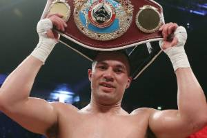 Joseph Parker holds up his belt after his successful defence of the WBO Heavyweight World Title.