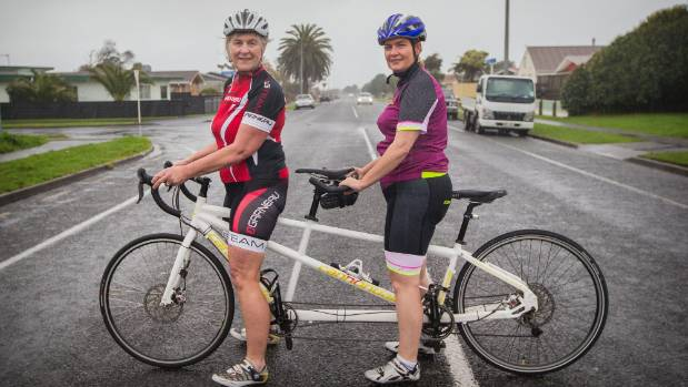 Jan Tyson is helping Teena McEwen, who is blind, prepare for Taranaki Around The Mountain Cycle Challenge.