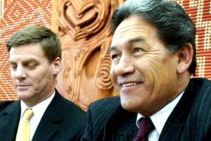 What's your price? Bill English and Winston Peters at a press conference with Richard Prebble in 2003.