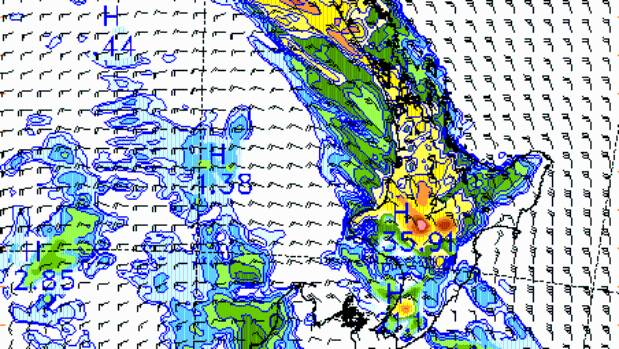 Heavy rain covers the North Island in this MetService rain forecast map for 7pm Tuesday.