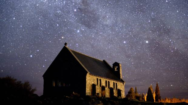The Southern Cross above the Church of the Good Shepherd on the shore of Lake Tekapo. Mackenzie District mayor Graham ...