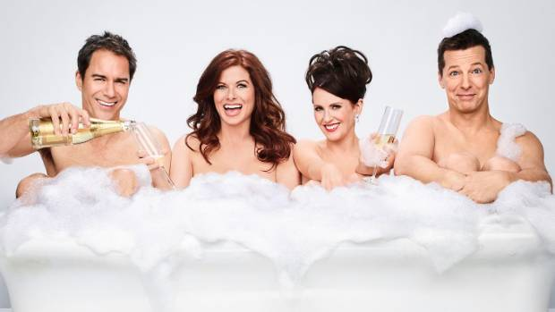 Eric McCormack, Debra Messing, Megan Mullally and Sean Hayes in Will & Grace.