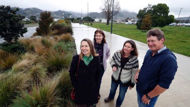 Nelson City Councillor Kate Fulton, left, Farmers' Market manager Miriam Clark, Tanya Whitehead and Andrew Lowe at the ...