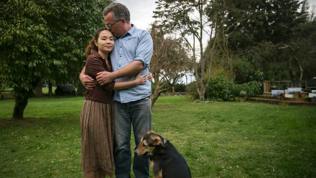 Seamus Robertson with his fiancee, Pham Thu Thuong Nguyen, at his father's property in Eyrewell, where the couple have ...