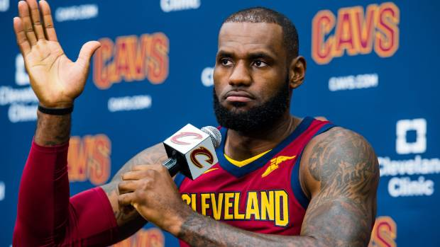 LeBron James speaks with news media about Donald Trump's presidency and the departure from the Cavs of Kyrie Irving.
