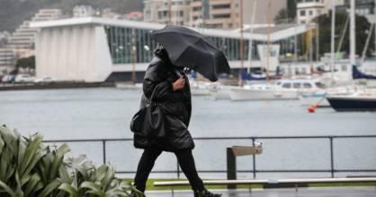 Wellington rain and wind weather  waterfront near Oriental Parade.