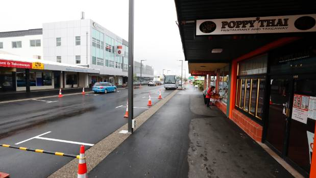 The view on Tuesday west along Queen St, outside the Poppy Thai restaurant.