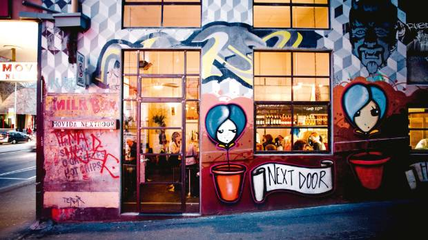 Frank Camorra's MoVida Next Door blends in to the surroundings graffiti well.