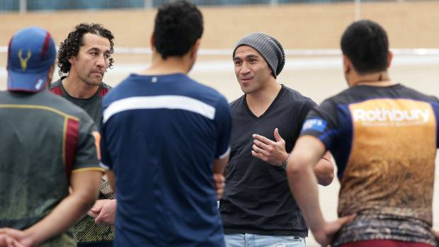 Former All Black Mils Muliaina was Invercargill visiting, and talked with the Southland Stags backs during a training ...