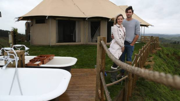 Emily and Benjamin Scott are taking the stress away from camping with their new business Waitomo Hilltop Glamping.