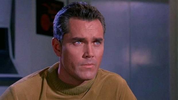 Jeffrey Hunter as Captain Christopher Pike in the pilot of Star Trek.