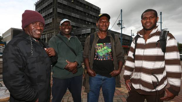 Vineyard workers, from left, Hannington Banga, David Banga, Shephard Vina and Brian Tari will fly home to Vanuatu on ...
