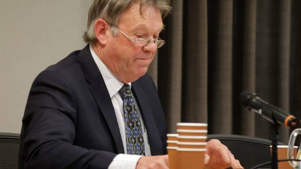 Sheep and dairy farmer Doug Fraser, a life member of Federated Farmers Southland, argues his case at the Southland Water ...