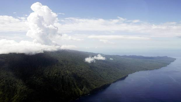 Steam billows from the Monaro volcano on Ambae in 2005. It started belching ash on Saturday, prompting Vanuatu's ...