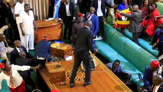 Ugandan legislators fight over motion to lift presidential age limit