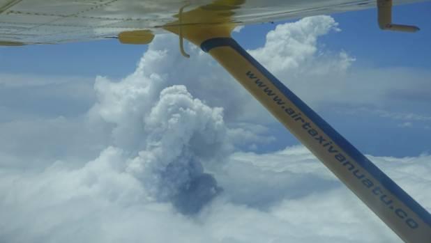 A cloud of smoke from Monaro volcano is seen on Vanuatu's northern island Ambae.