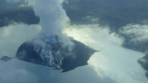 A cloud of smoke from Manaro Voui volcano is seen on Vanuatu's northern island Ambae.