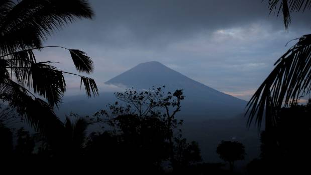 A view of Mount Agung, a volcano on the highest alert level, from Karangasem Regency, on the resort island of Bali, ...