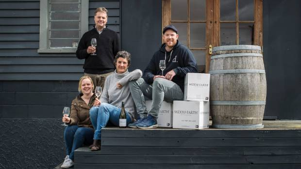 The Middle-Earth wine family,  Kylie O'Connell, left, Rob Grey, Trudy Shield and Ryan O,Connell.