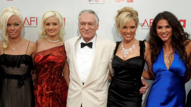 Hugh Hefner , Playboy magazine founder, and Playboy Playmates and girlfriends arrive at the American Film Institute's ...