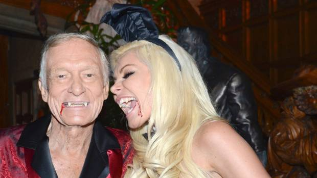 With wife Crystal Harris at Hefner's annual Halloween Party at The Playboy Mansion in Los Angeles in 2012.