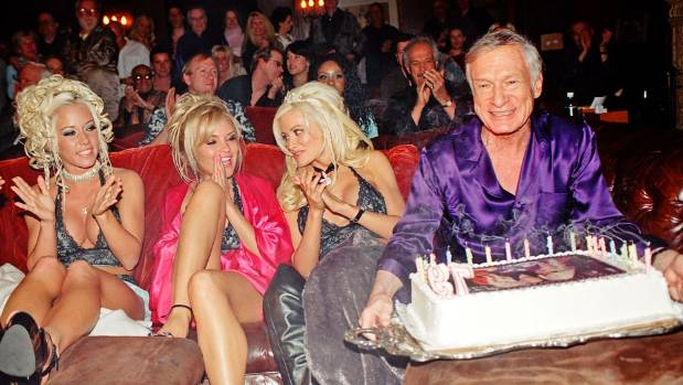 Hefner's 79th birthday along with his girlfriends, Playboy Playmates (L-R) Kendra Wilkinson, Bridget Marquardt, and ...