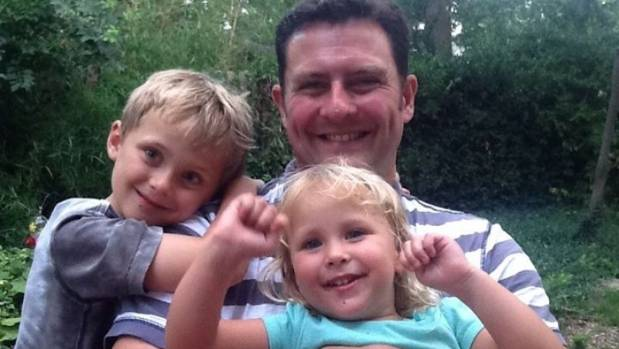 Michael Byrne with his two children: Griffin, left, and Shennie.