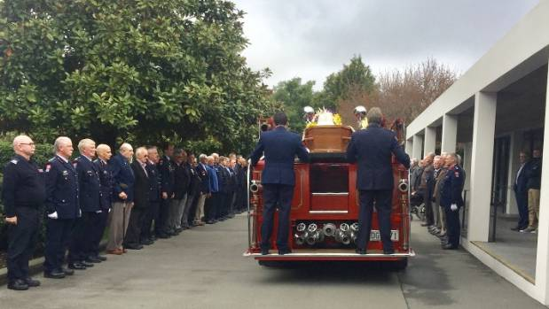 Frank Hardy was seen off with a guard of honour from retired and current NZ Fire Service members. He was carried out on ...