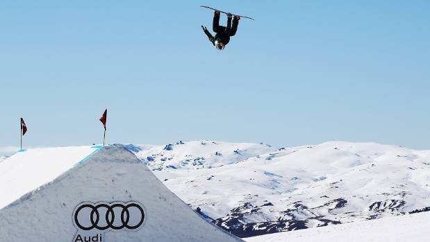 Zoi Sadowski Synnott competes in the finals of the Winter Games NZ snowboard slopestyle world cup.