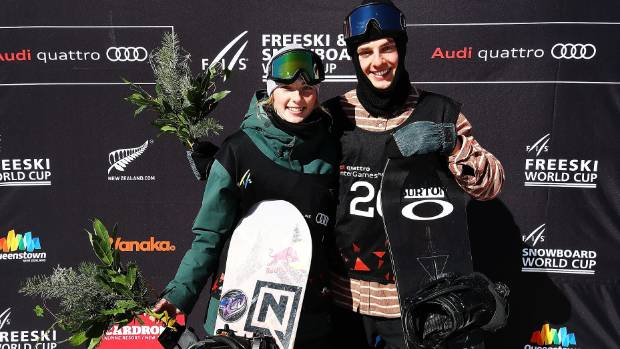 Zoi Sadowski Synnott with Carlos Garcia Knight, after both won snowboard bronze medals during the 2017 Winter Games.