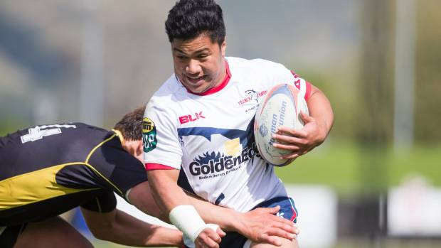 Tasman B winger Johnny Ika is all aggression against Wellington B at Lansdowne Park on Saturday.