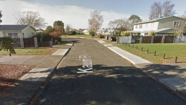Kauri Place in Mahora, Hastings, where a suspicious fire early on Sunday morning has left an occupant with ...