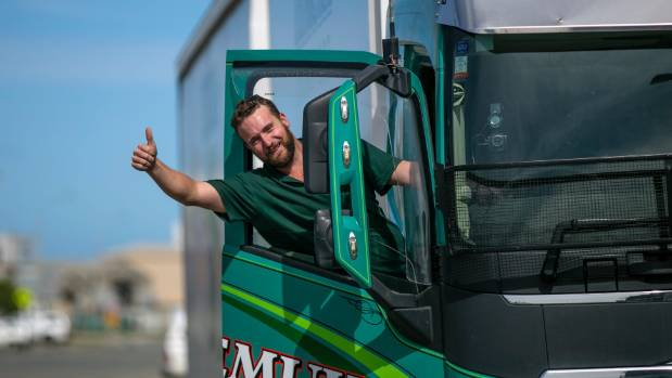 Temuka truck driver Johnny Baxter celebrates winning the on-road category of the Volvo Trucks Fuelwatch Challenge in ...