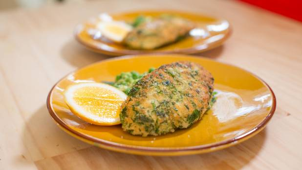 Chicken schnitzel with pea and feta smash makes a winning midweek meal.