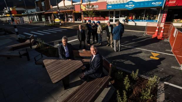 Tasman mayor Richard Kempthorne, left, sits with Richmond Lions Club member Struan Robinson on new street furniture ...