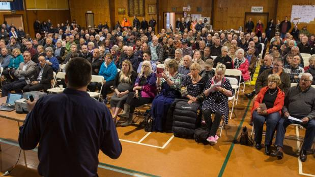 NZ Transport Agency regional transport systems manager Ross I'Anson spoke to a crowd of about 300 people in Woodville ...