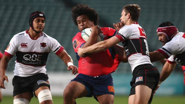 Tasman hooker Andrew Makalio tests the North Harbour defence during last season's encounter in Albany.