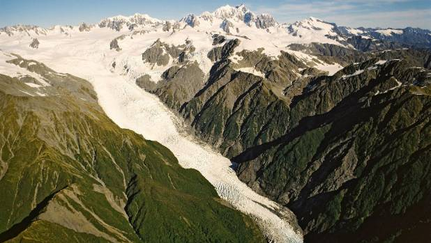 The Franz Josef Glacier falls from the greywacke zone at its head, near the Main Divide, to the schist zone at its ...