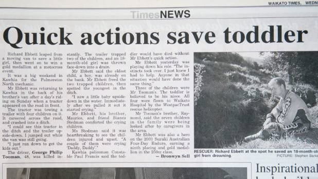 Page 3 of the Waikato Times dated Wednesday February 7, 2001 showing the article detailing Richard Ebbett's heroic ...