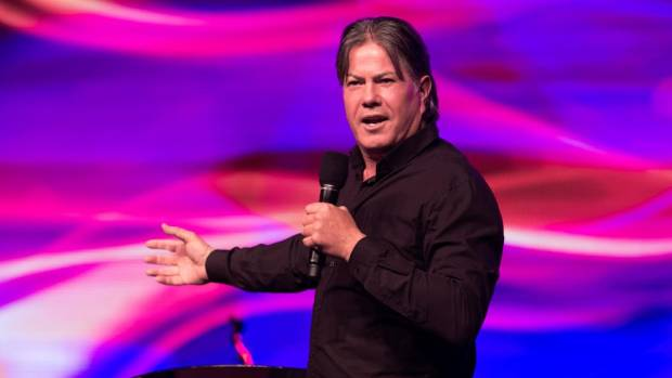 Destiny Church leader and self-appointed bishop Brian Tamaki in full flight during a sermon.