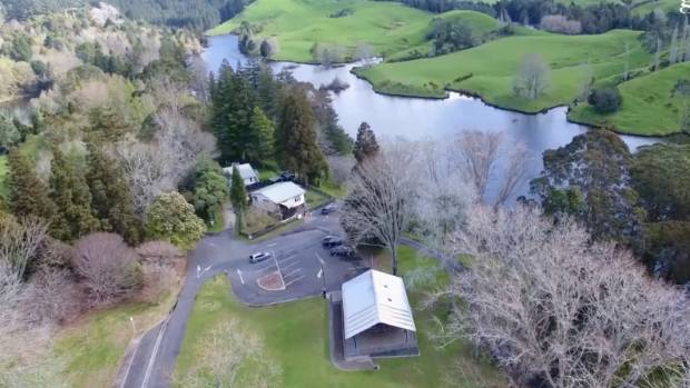 An aerial view of McLaren Falls Park, with its remarkable collection of rare and unusual trees planted by pensioners.