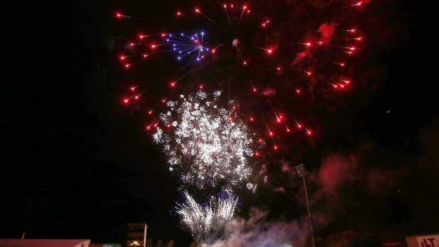 Fireworks light up the night sky at a music festival at Rugby Park, Invercargill, in 2015.