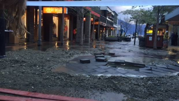 The flooding damaged this central Queenstown street.