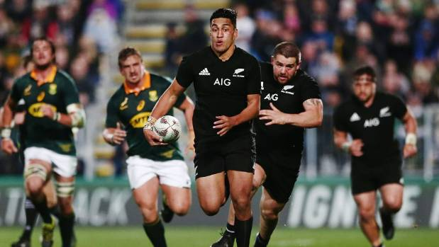 All Blacks wing Rieko Ioane streaks away from the Springboks defence during the 57-0 win in Albany.