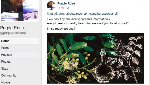 Natural healing practitioner Rose Scott, of Motueka, believes Doterra oils may cure cancer.