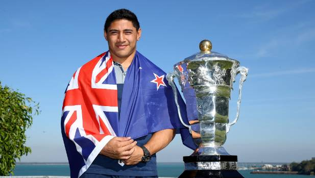 Jason Taumalolo poses with the Rugby League World Cup in June this year.