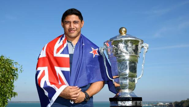 Jason Taumalolo poses with the Rugby League World Cup in June.