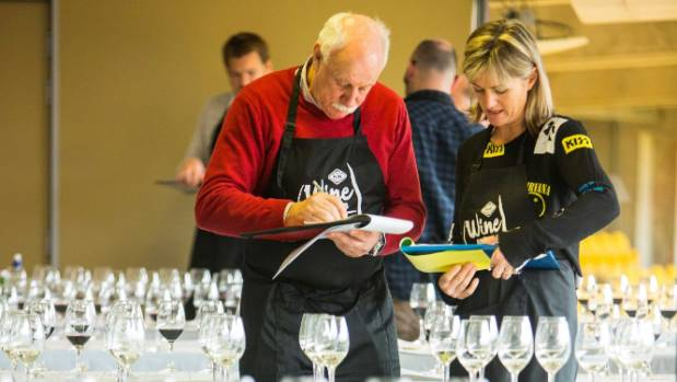 Award judges Jim Harre and Sarah-Kate Dineen during the blind wine tasting from July 31 to August 2.